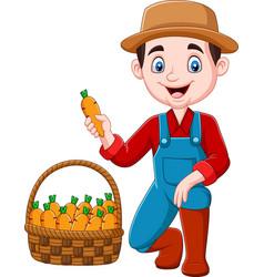 Cartoon little farmer harvesting carrots vector