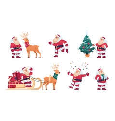 cartoon santa claus christmas character with vector image