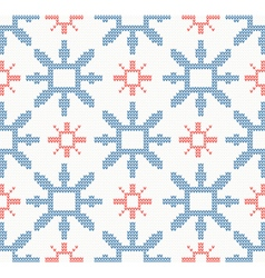 Christmas knitted seamless pattern with snowflakes vector