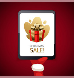 christmas sale banner with tablet vector image