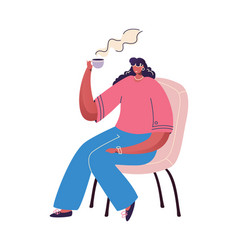 coffee time concept cartoon woman drinking hot vector image