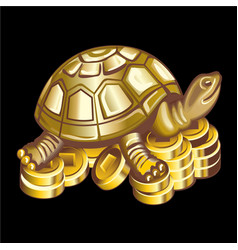collection mascots bronze turtle on coins vector image
