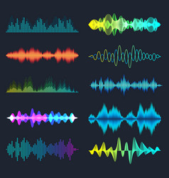 Colored sound waves collection analog and digital vector