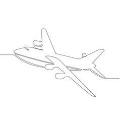 Continuous one line passenger airplane vector