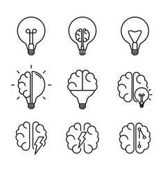 creative idea brainstone line icon collection set vector image