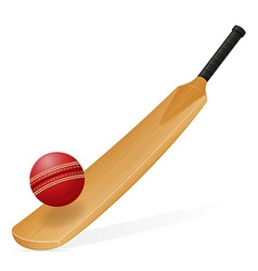 Cricket bat and ball 01 vector