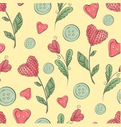 cute seamless pattern balls yarn buttons vector image