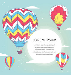 design template with hot air ballons vector image