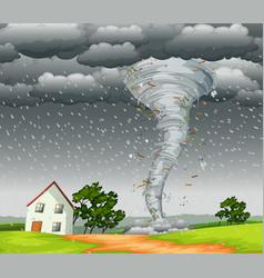 Destructive tornado landscape scene vector