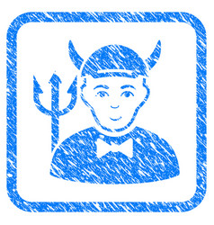 Devil framed stamp vector