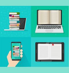 digital electronic books online reading concept vector image