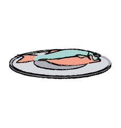 Drawn fish on a plate fresh health food vector
