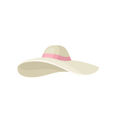 elegant beige women s hat with pink ribbon vector image