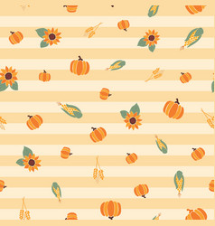 Fall background pumpkins corn sunflowers vector
