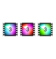 Film strip countdown movie number cinema vintage vector