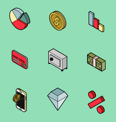 Finance flat outline isometric set vector