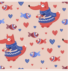 fish fox valentines day seamless pattern vector image