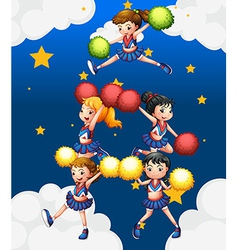 Five cheerdancers dancing with their pompoms vector image