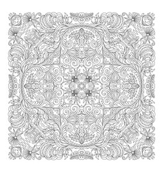 floral pattern coloring book page vector image