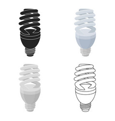 fluorescent lightbulb icon in cartoon style vector image