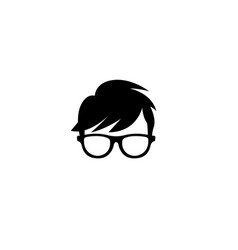 Geek head hairstyle wearing glasses logo vector