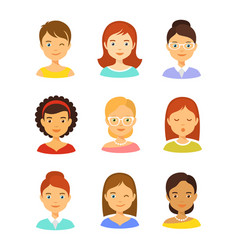 girl avatar icons set vector image