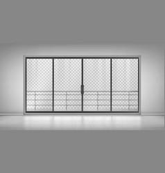 Glass window door with balcony railings mock up vector