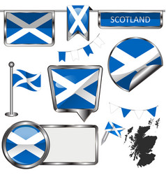 glossy icons with flag of scotland united kingdom vector image