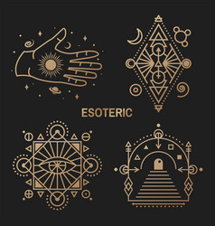 gold esoteric symbols thin line geometric vector image