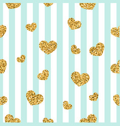gold heart seamless pattern blue-white geometric vector image