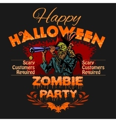 Halloween Party Design template with zombie and vector