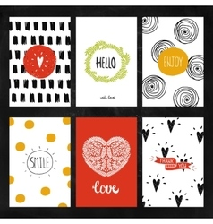 Hand drawn collection of Greeting cards vector image