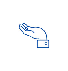 hand support line icon concept hand support flat vector image