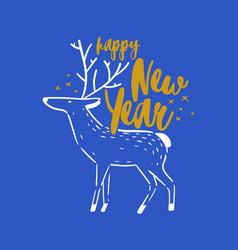 happy new year holiday wish handwritten vector image