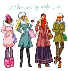 Happy women in winter clothing vector