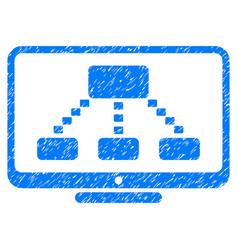 hierarchy monitoring grunge icon vector image