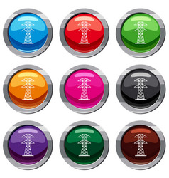 high voltage tower set 9 collection vector image