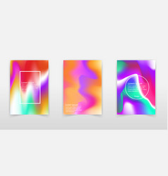 Holographic backgrounds set smooth multicolor vector