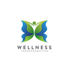 human butterfly transformation wellness logo vector image