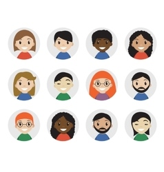 Icons interracial people flat style vector