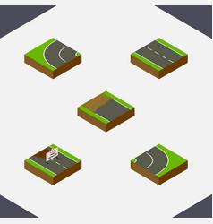 Isometric way set of incomplete single-lane way vector