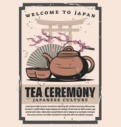 japanese tea ceremony cups and pot fan sakura vector image