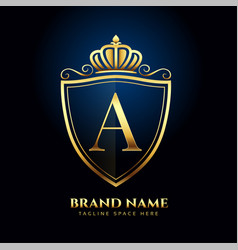 Letter a crown golden logo luxury style concept vector