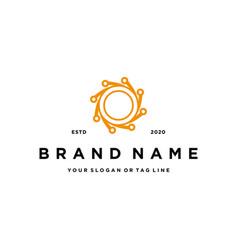 Letter o tech design logo icon concept vector