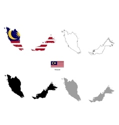 Malaysia country black silhouette and with flag on vector