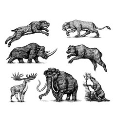 Mammoth or extinct elephant woolly rhinoceros vector