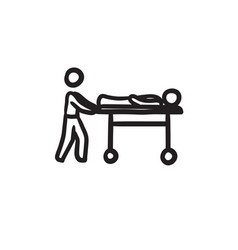 Man pushing stretchers sketch icon vector
