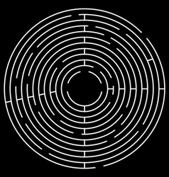 Maze circle white maze on black background vector