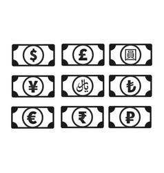 money banknotes with common currency signs like us vector image