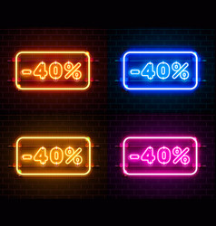 neon 40 off text banner color set night sign vector image